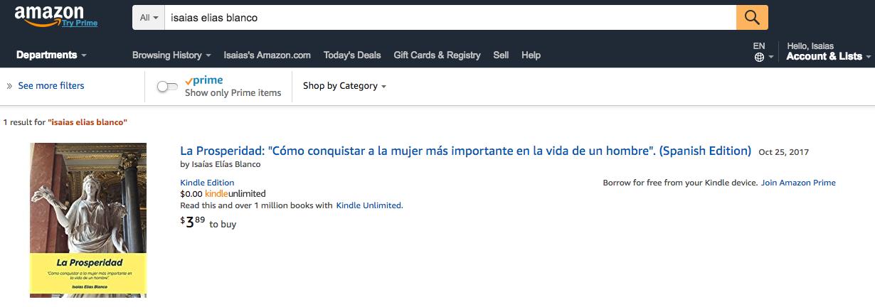 La Prosperidad en Amazon - Isaias Elias Blanco